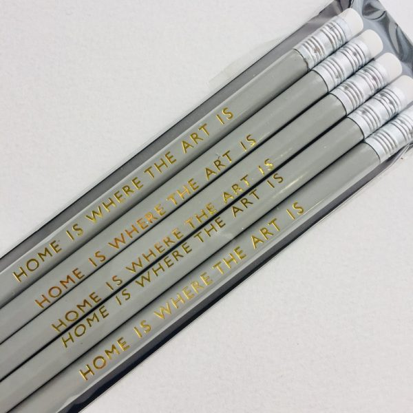 Ella Bonella Pencil- Grey with Home is where the art is Gold Foiling