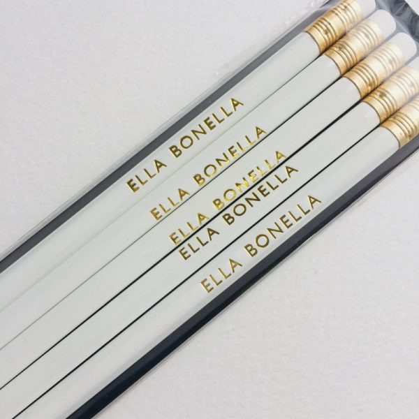 Ella Bonella Pencil - White with Ella Bonella Gold Foiling