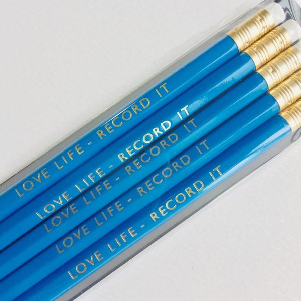 Ella Bonella Pencil - Blue with Love life - Record it Gold Foiling