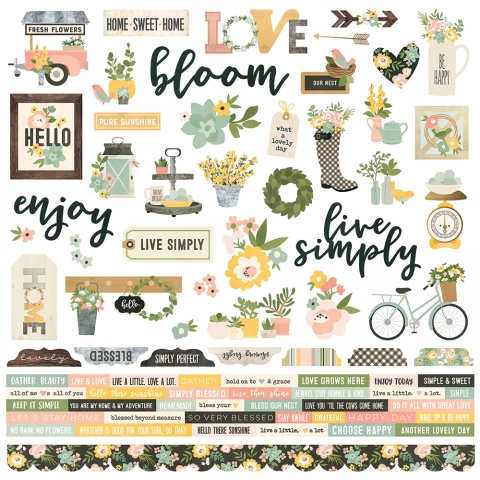 Simple Stories Spring Farmhouse Combo Cardstock Stickers