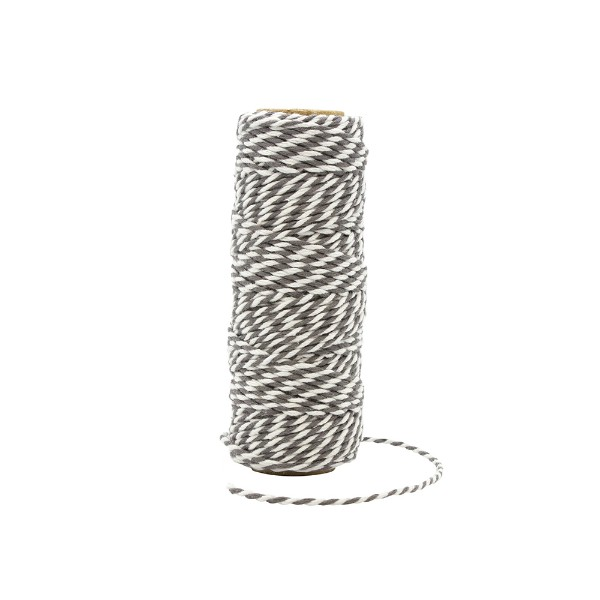 Tonic Studios Craft Perfect Striped Bakers Twine Pewter Grey