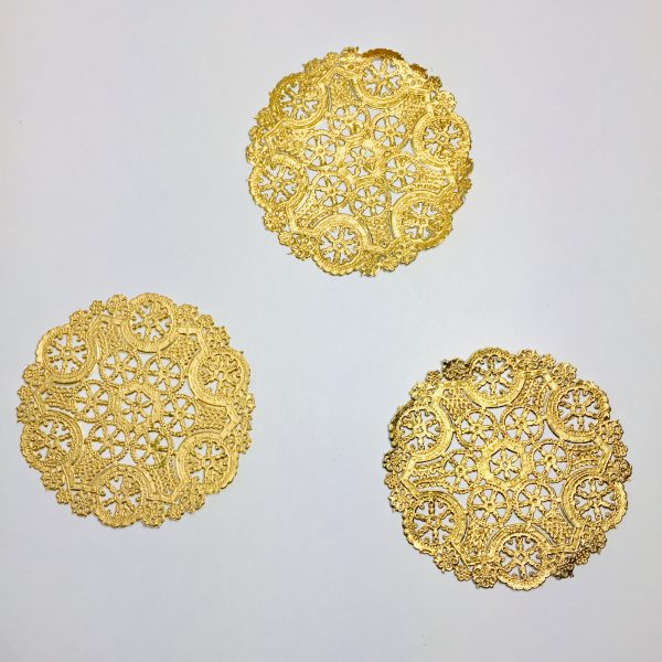 Ella Bonella Pack of 3 Intricate Gold Doilies