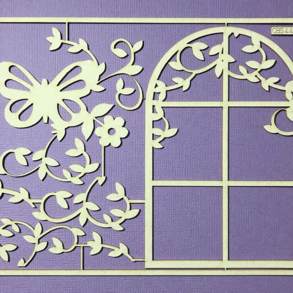 EB Chipboard Floral Arch And Butterfly Set Large