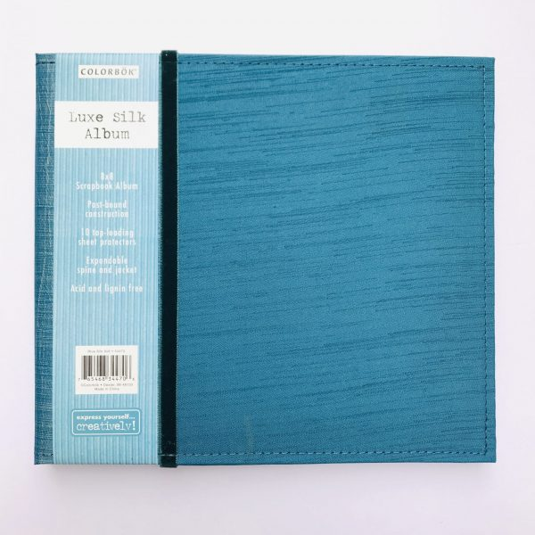 American Crafts Colorbok 8 x 8 inch Teal Blue Silk Album with 10 Page Protectors