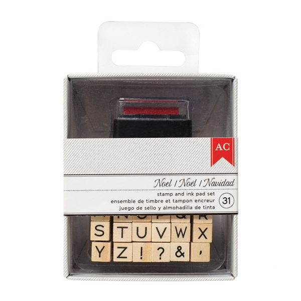 American Crafts Stamp And Ink Pad Set Alphabet