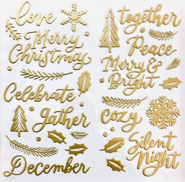 Pink Paislee Together For Christmas Good Tidings Puffy Phrase And Accent Stickers Gold