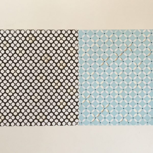 Die-Cut Lattice Paper Aqua Blue Brown & Cream Pack Of 2