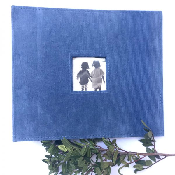 American Crafts 8 x 8 inch Cornflower Blue Corduroy Album with 5 Page Protectors