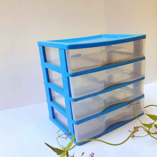 EB Clear Plastic Drawers In Teal Frame Set Of 4
