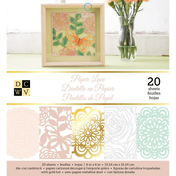 "American Crafts DCWV 6"" x 6"" Paper Pad - Paper Lace - With Die-Cut Designs"