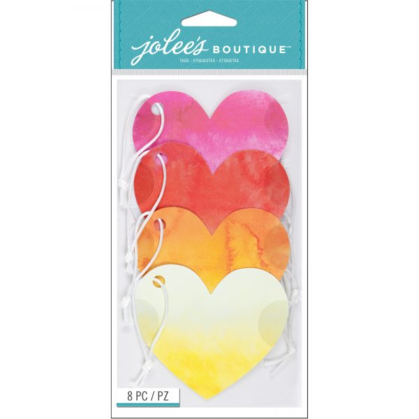 American Crafts Jolee's Boutique Ombre Heart Tags Set of 8