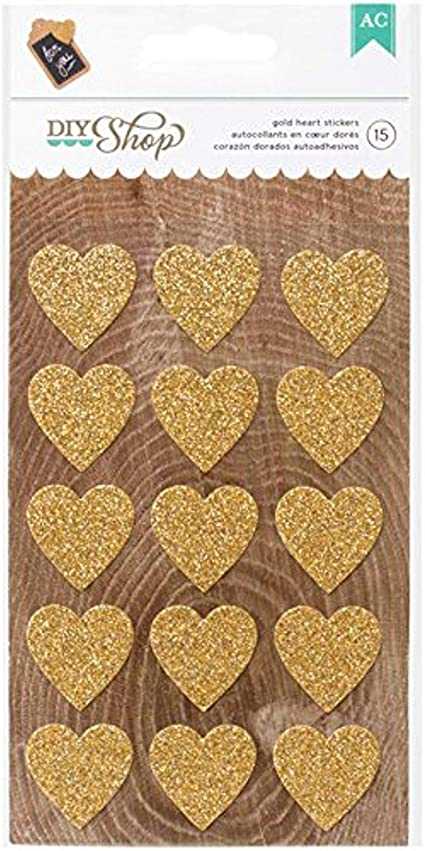American Crafts DIY Shop Gold Heart Stickers