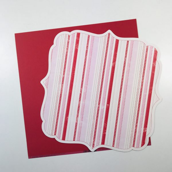 EB Scalloped Die Cut Patterned Paper Decorative Stripe & Red Cardstock Pack of 2