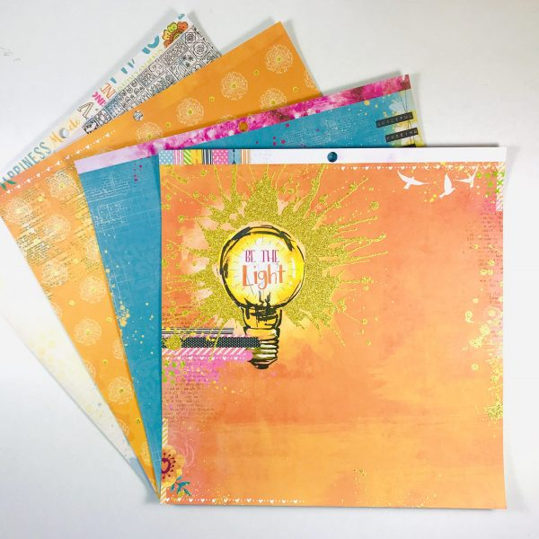 American Crafts Bo Bunny Be The Light Paper Pack of 4