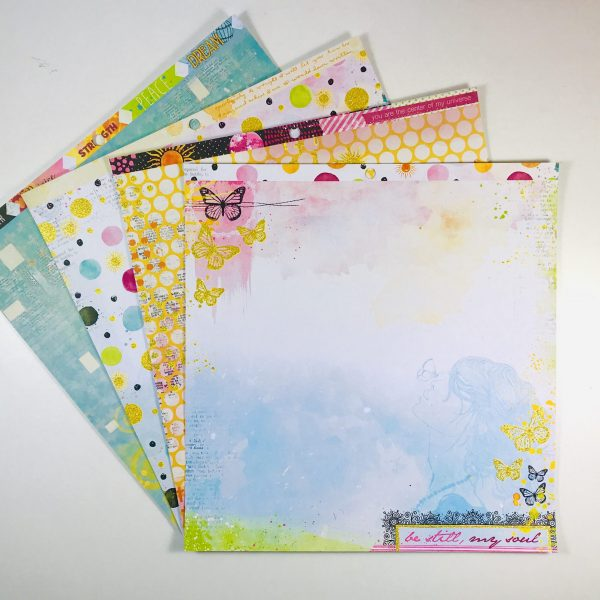 American Crafts Bo Bunny Be Still My Soul Paper Pack of 4