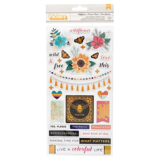 Vicki Boutin Wildflower And Honey Holographic Chipboard Stickers