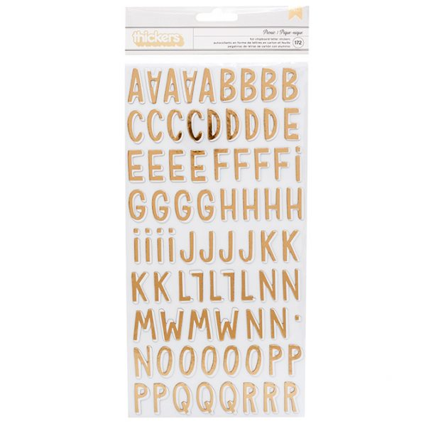 American Crafts Gold Foil Chipboard Alphabet Stickers Picnic