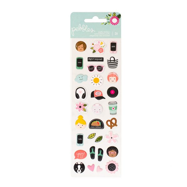 American Crafts Pebbles Girl Squad Puffy Stickers