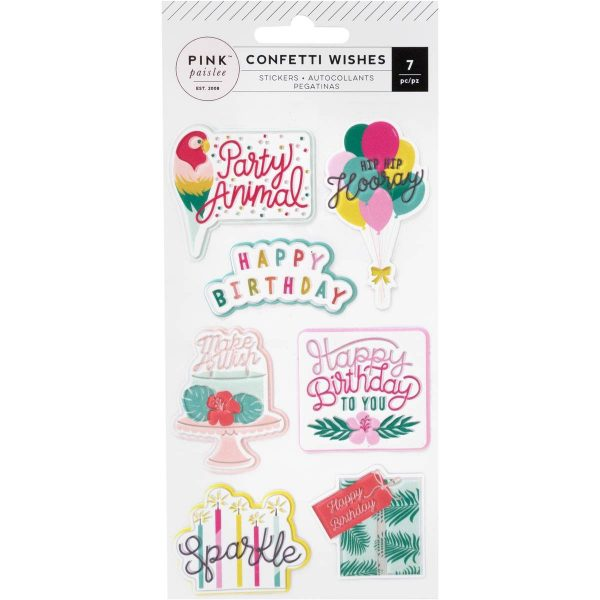 American Crafts Pink Paislee Confetti Wishes Puffy Stickers