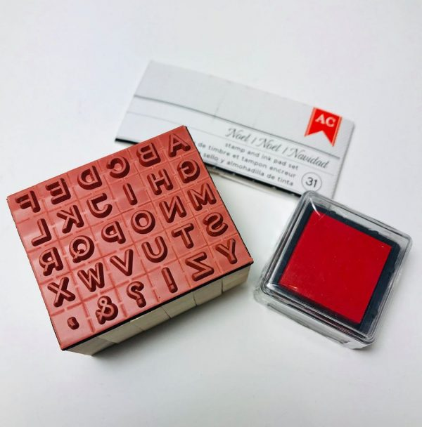 American Crafts Mini Wooden Alphabet Stamp Set With Ink Pad
