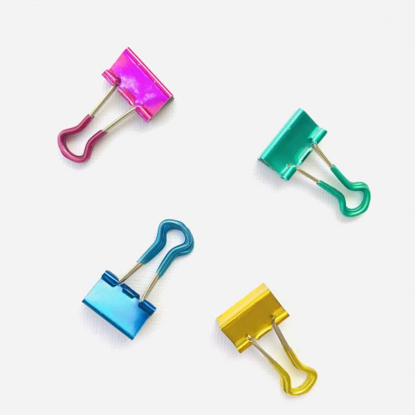 Ella Bonella 2cm Metallic Bulldog Clips Rubberised Set Of 4