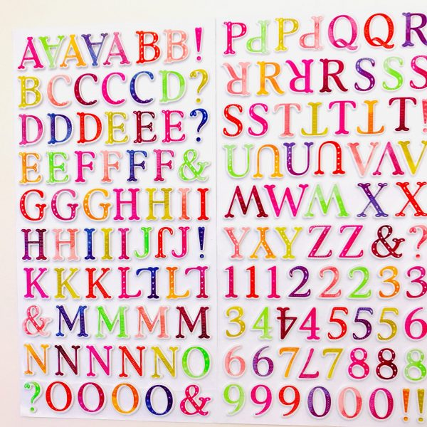 American Crafts Pink Paislee Truly Grateful Puffy Alphabet Stickers