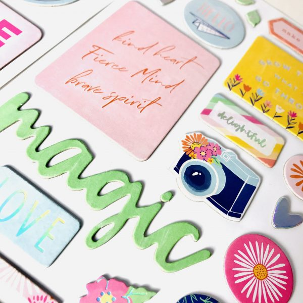 American Crafts Dear Lizzy She's Magic Delightful Chipboard Phrase Stickers Double Pack