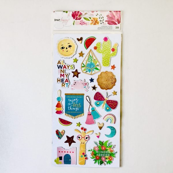American Crafts Dear Lizzy New Day Chipboard Stickers