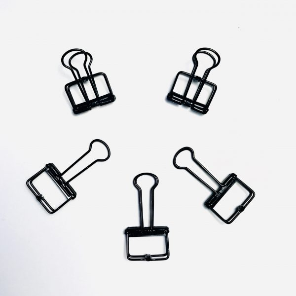 Ella Bonella 2cm Black Skeleton Bulldog Clips Set Of 5